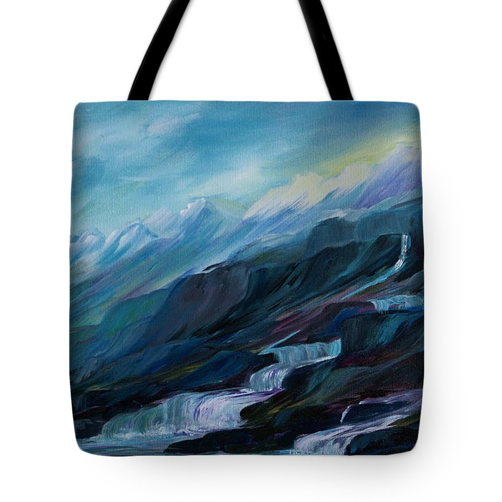 Spring Water Trickling Down Mountains Tote Bag featuring the painting Spring Water by Joanne Smoley