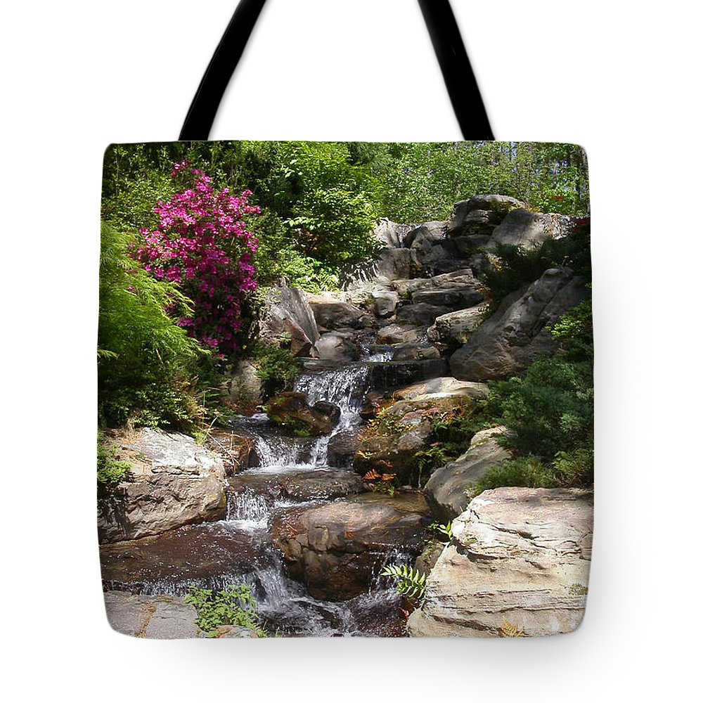 Spring Tote Bag featuring the photograph Spring Waterfall by Anne Cameron Cutri