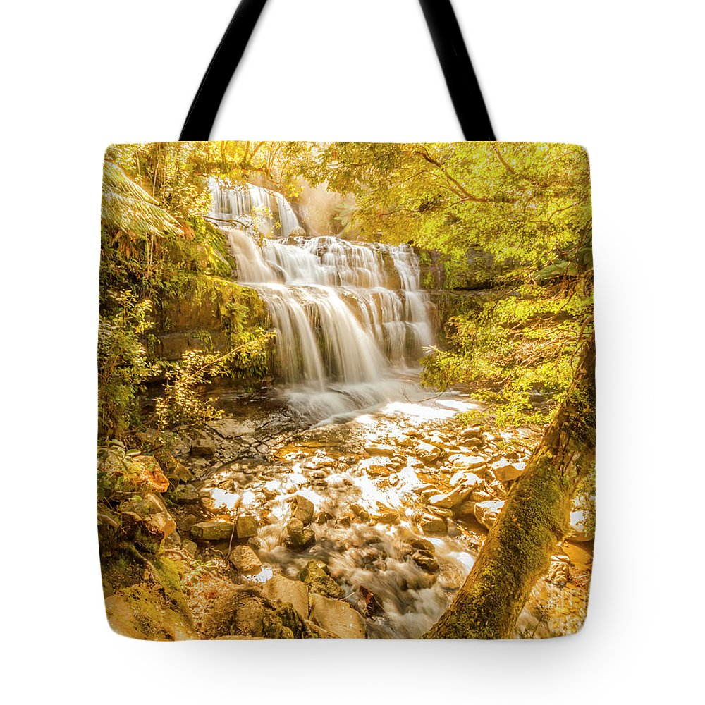 Waterfall Tote Bag featuring the photograph Spring Waterfall by Jorgo Photography - Wall Art Gallery