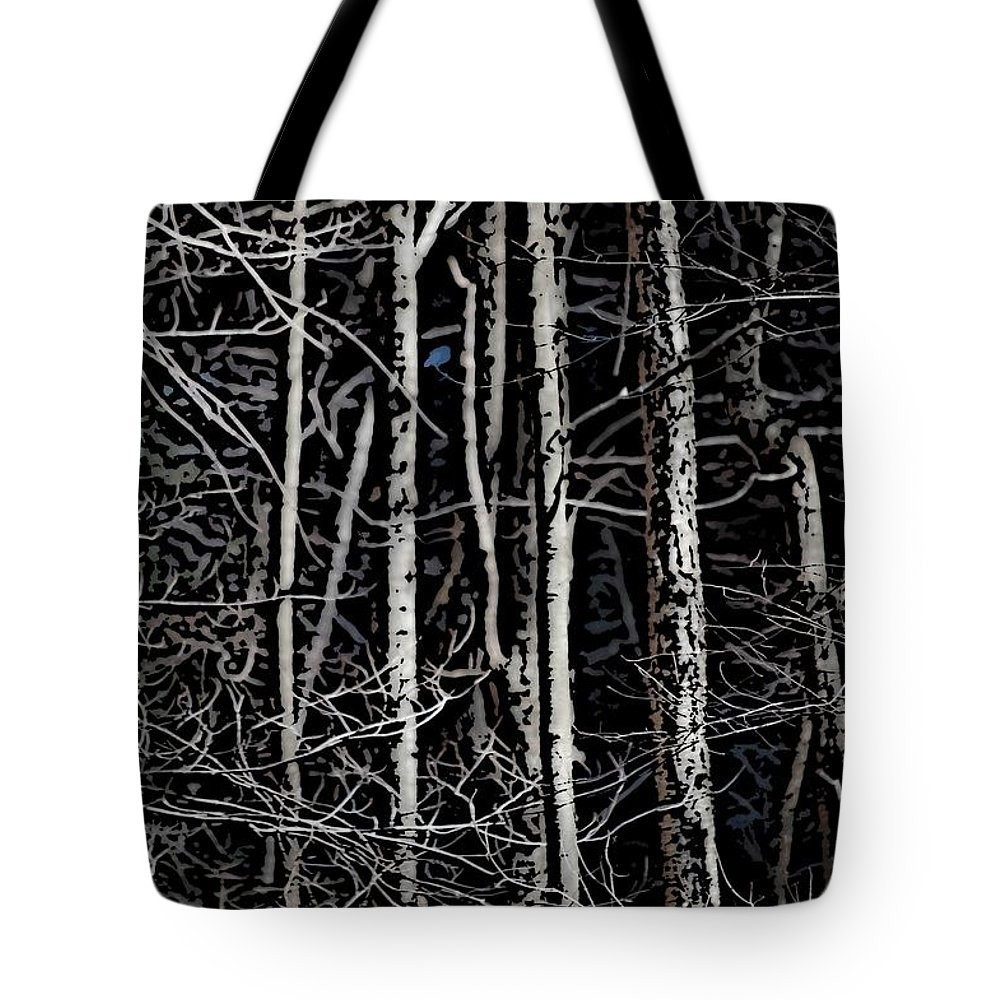 Digital Photography Tote Bag featuring the digital art Spring Woods Simulated Woodcut by David Lane
