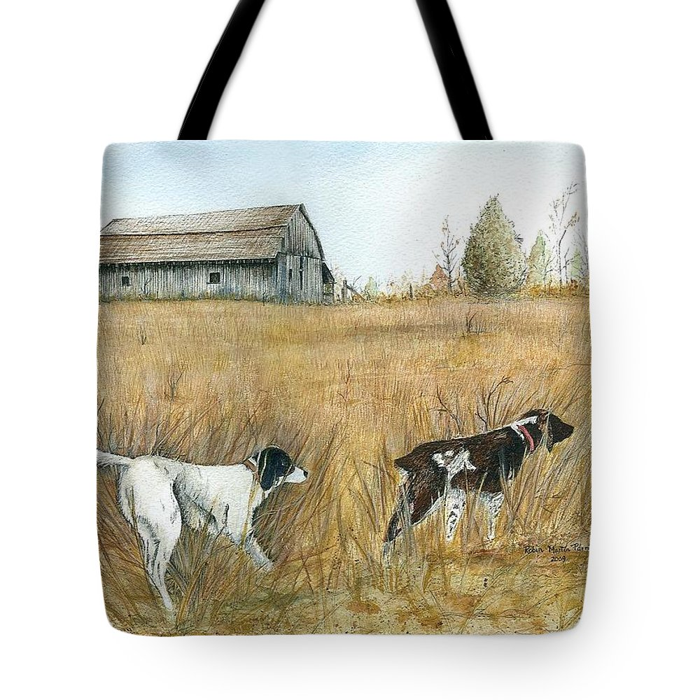 Springfield Tote Bag featuring the painting Springfield Bird Dogs by Robin Martin Parrish