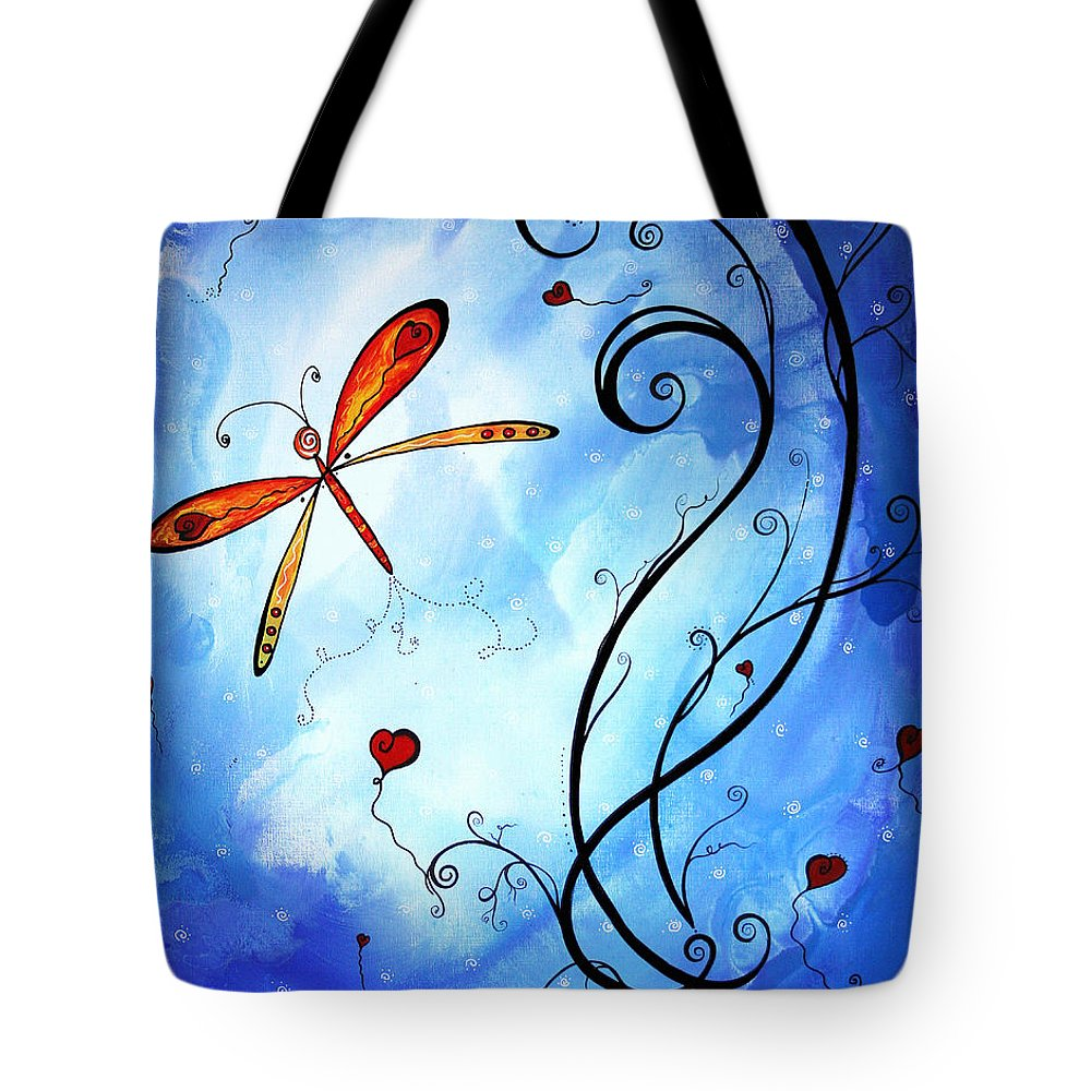 Abstract Tote Bag featuring the painting Springs Sweet Song Original Madart Painting by Megan Duncanson