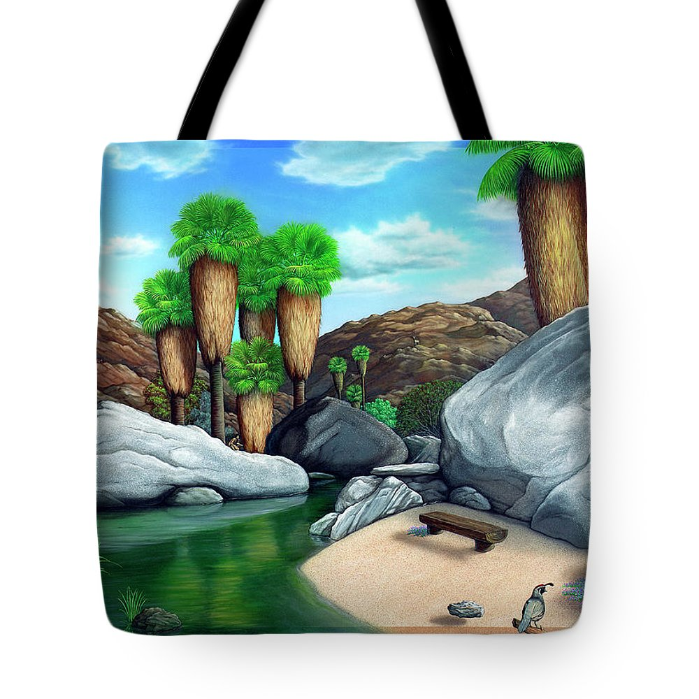 Landscape Tote Bag featuring the painting Springtime in the Canyons by Snake Jagger