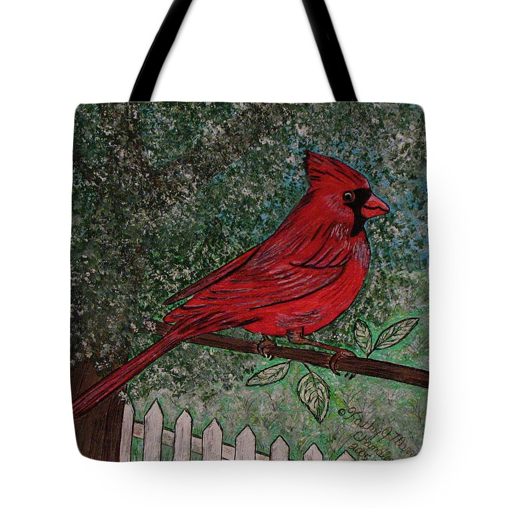 Springtime Tote Bag featuring the painting Springtime Red Cardinal by Kathy Marrs Chandler