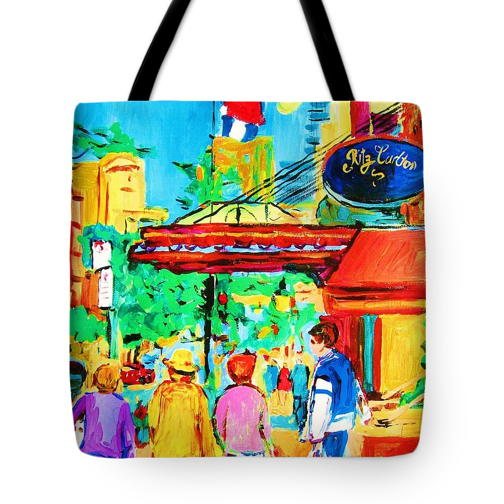 Paintings Of The Ritz Carlton On Sherbrooke Street Montreal Art Tote Bag featuring the painting Springtime Stroll by Carole Spandau
