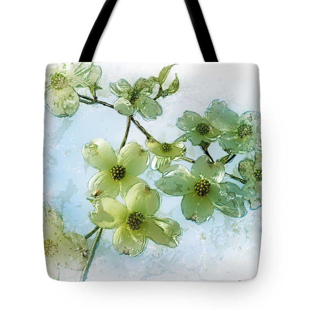 Photomanipulation Tote Bag featuring the digital art Sprintime In Our Back Yard by Jane Spaulding