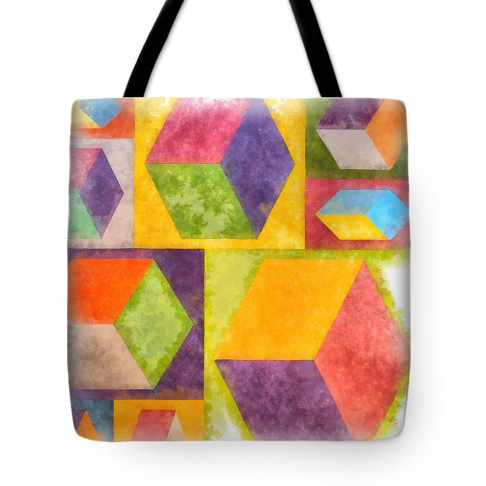 Painting Tote Bag featuring the painting Square Cubes Abstract by Edward Fielding