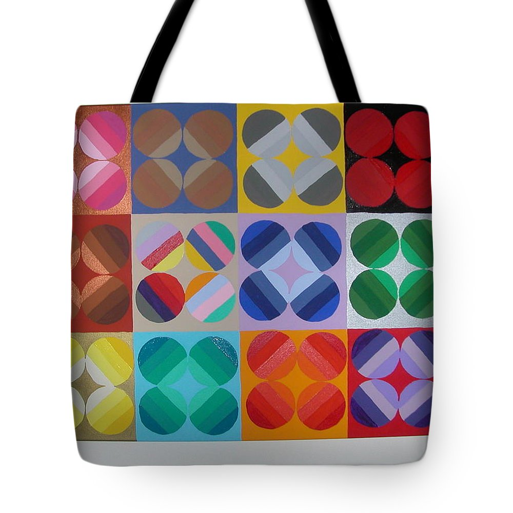 Multi Colored Circles On Squares Tote Bag featuring the painting Square Dancing by Gay Dallek