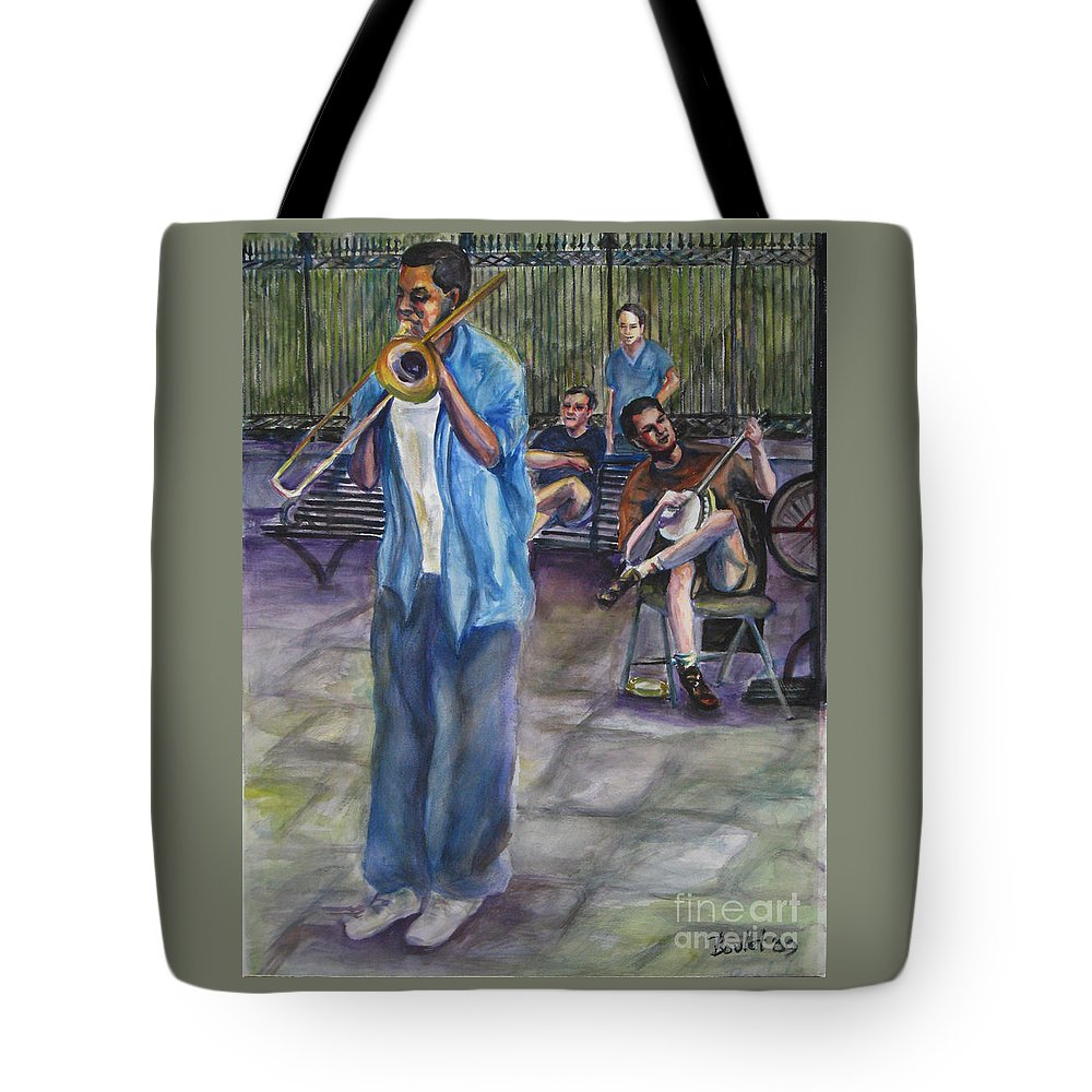 New Orleans Tote Bag featuring the painting Square Slide by Beverly Boulet