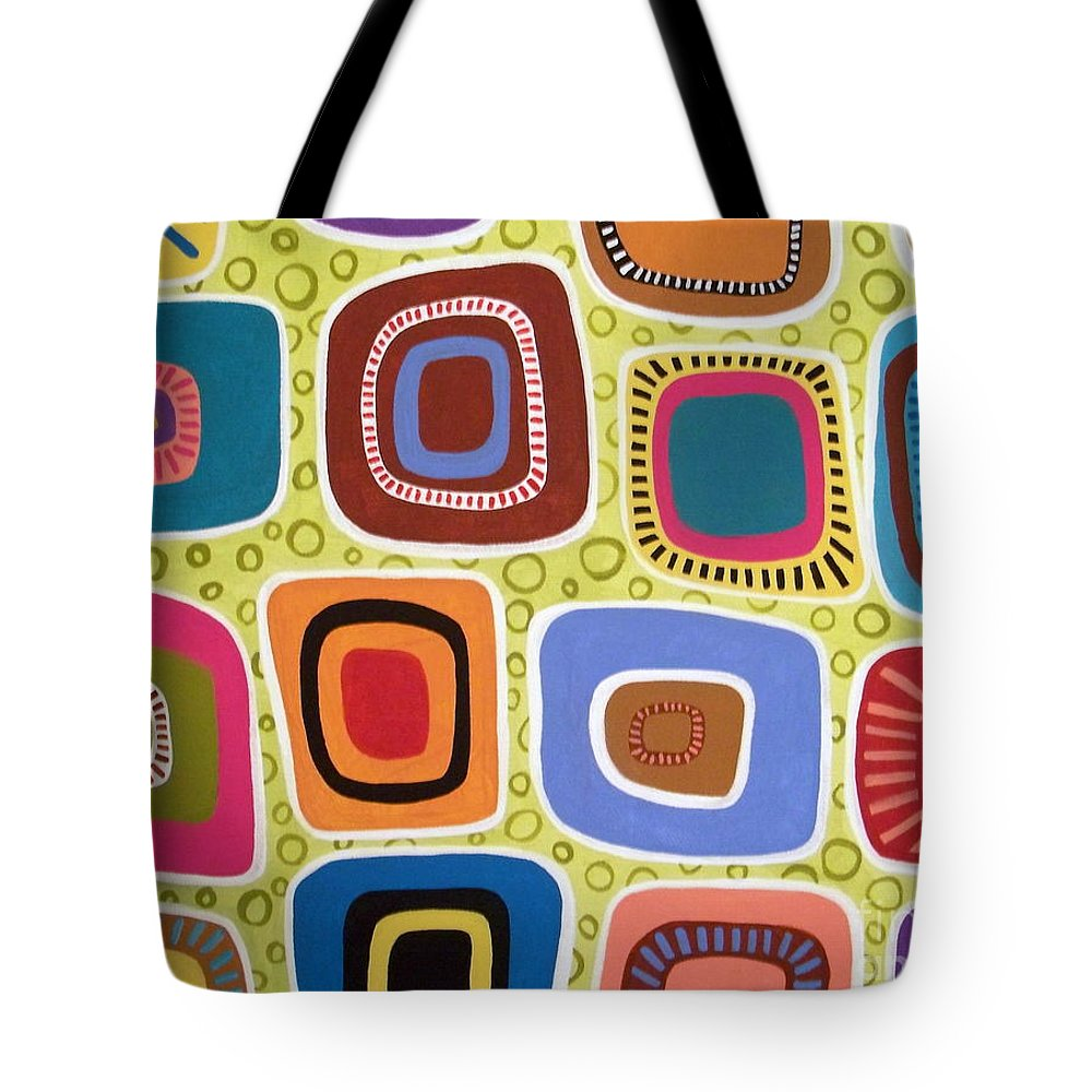 Painting Tote Bag featuring the painting Squares Abstract by Karla Gerard