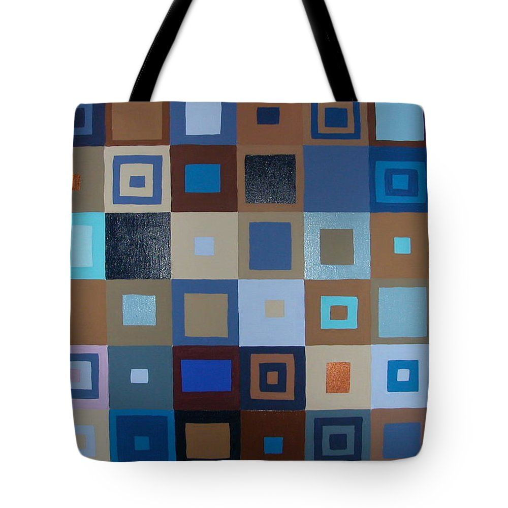 Shades Of Brown And Blue Squares Painting Tote Bag featuring the painting Squares Have It by Gay Dallek