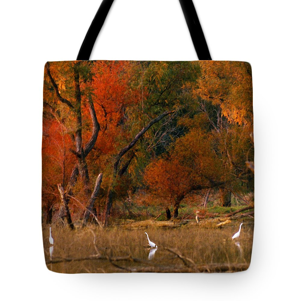 Landscape Tote Bag featuring the photograph Squaw Creek Egrets by Steve Karol