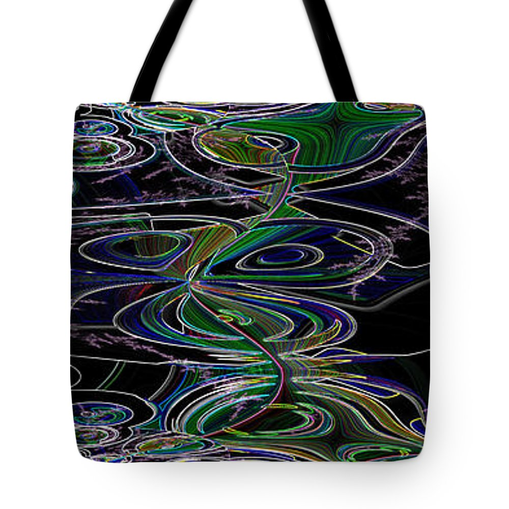 Neon Lines Glowing Black Light Poster Colors Circles Abstract Tote Bag featuring the digital art Squiggle by Andrea Lawrence