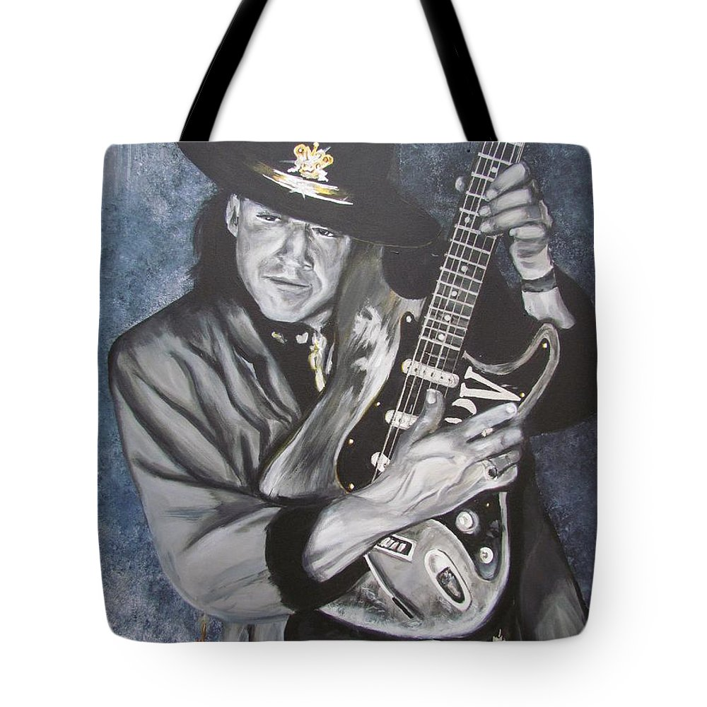 Stevie Ray Vaughan Tote Bag featuring the painting SRV - Stevie Ray Vaughan by Eric Dee