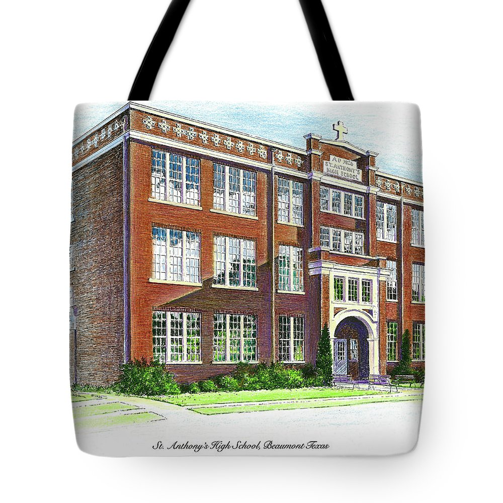 St. Anthony's Tote Bag featuring the drawing St. Anthony's High School by Randy Welborn
