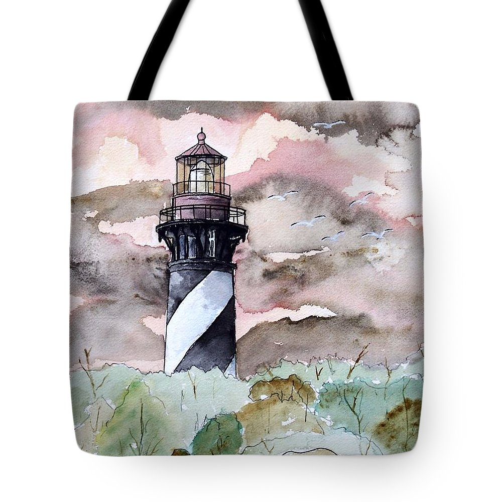 Lighthouse Tote Bag featuring the painting St Augustine Lighthouse by Derek Mccrea