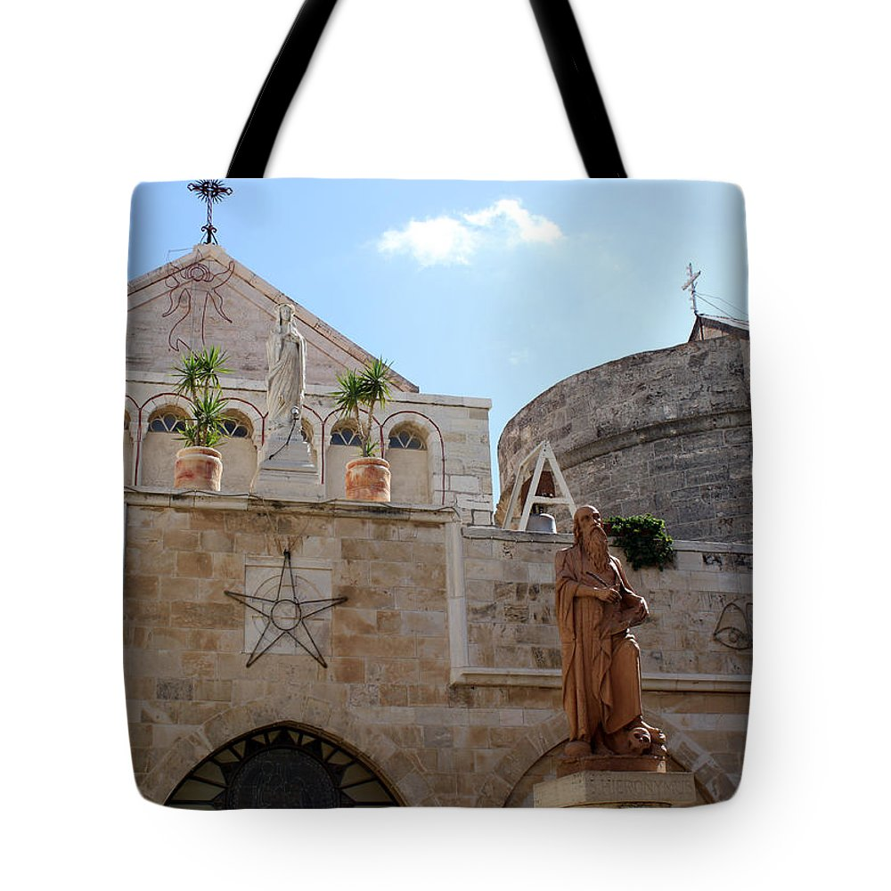 Bethlehem Tote Bag featuring the photograph St Catherine Church by Munir Alawi