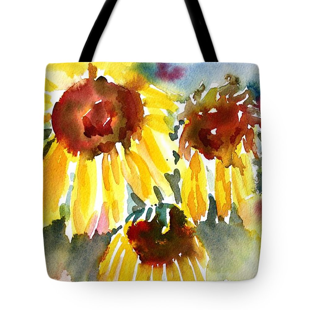 Sunflower Tote Bag featuring the painting St. Charmand Sunflowers by Tara Moorman