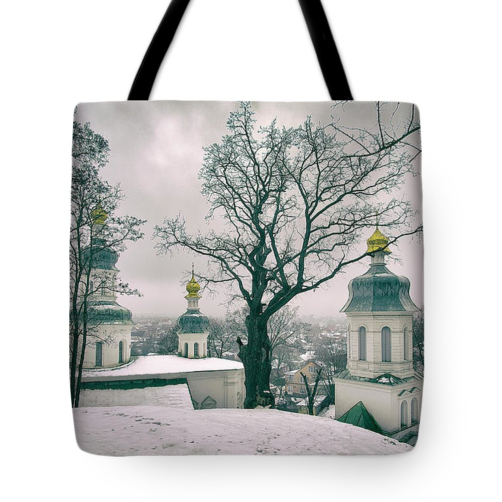 Travels Tote Bag featuring the photograph St. Elias Church. Chernihiv, 2017. by Mayk's PhotoArt
