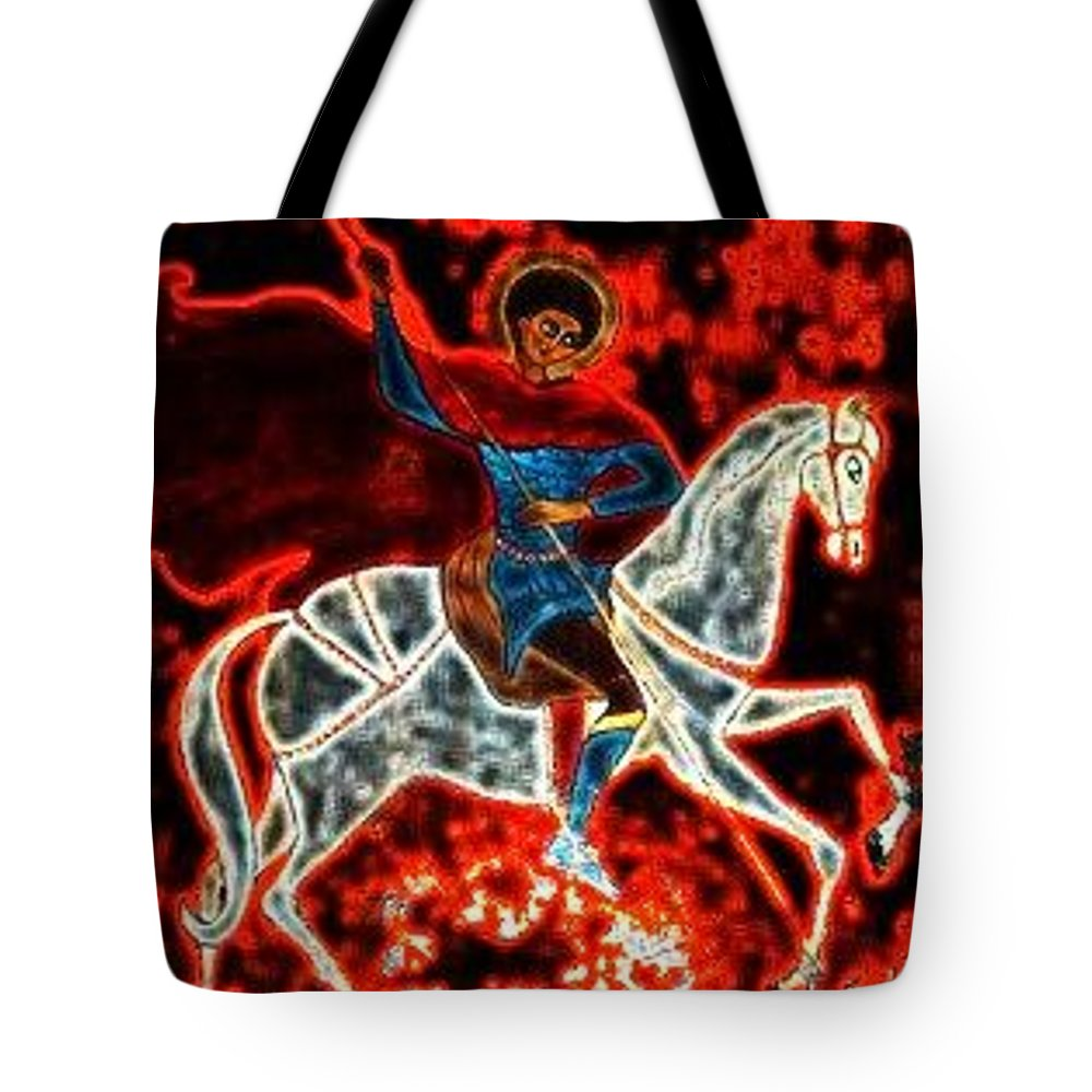 St. George Tote Bag featuring the greeting card St. George - Burning Sky by Rae Chichilnitsky