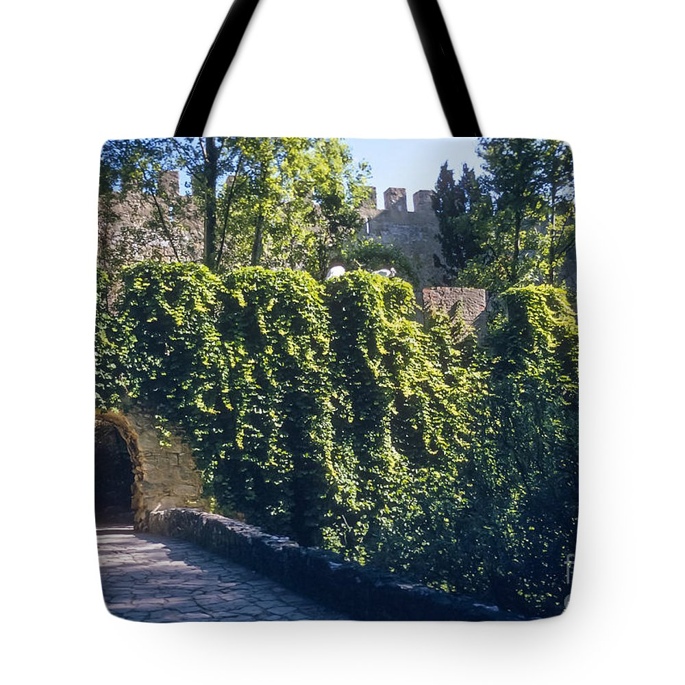 Losbon Portuguese Republic St. Saint George Castle Castles Tree Trees Landscape Landscapes Structure Structures Architecture Landmark Landmarks Tote Bag featuring the photograph St. George Castle by Bob Phillips