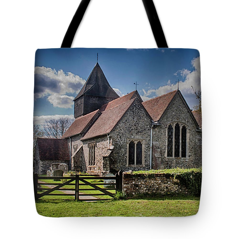 Elmsted Church Tote Bag featuring the photograph St James The Great Elmsted by Dave Godden