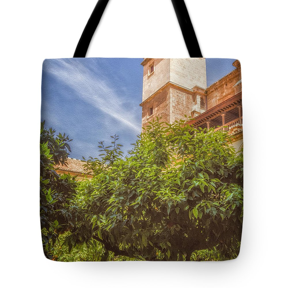 Joan Carroll Tote Bag featuring the photograph St Jerome Cloister Granada by Joan Carroll