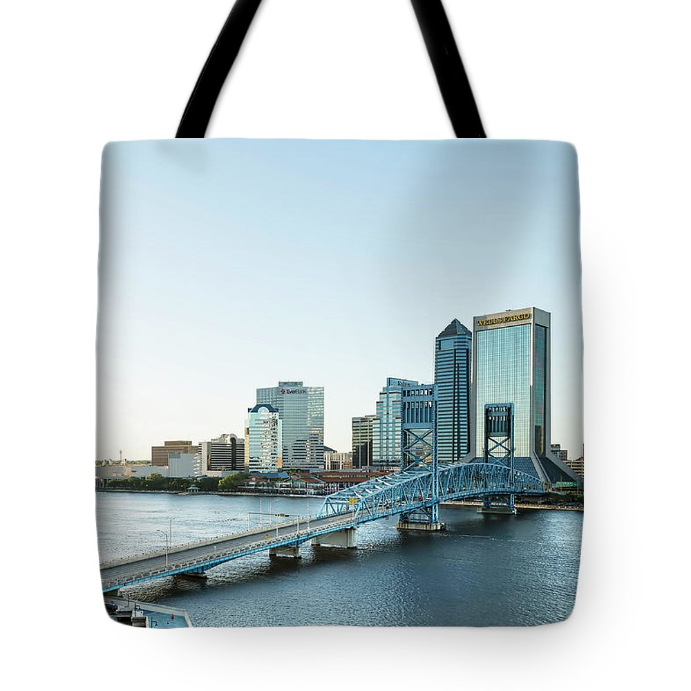 Jacksonville Tote Bag featuring the photograph St Johns River Skyline, Jacksonville, Florida by Kay Brewer