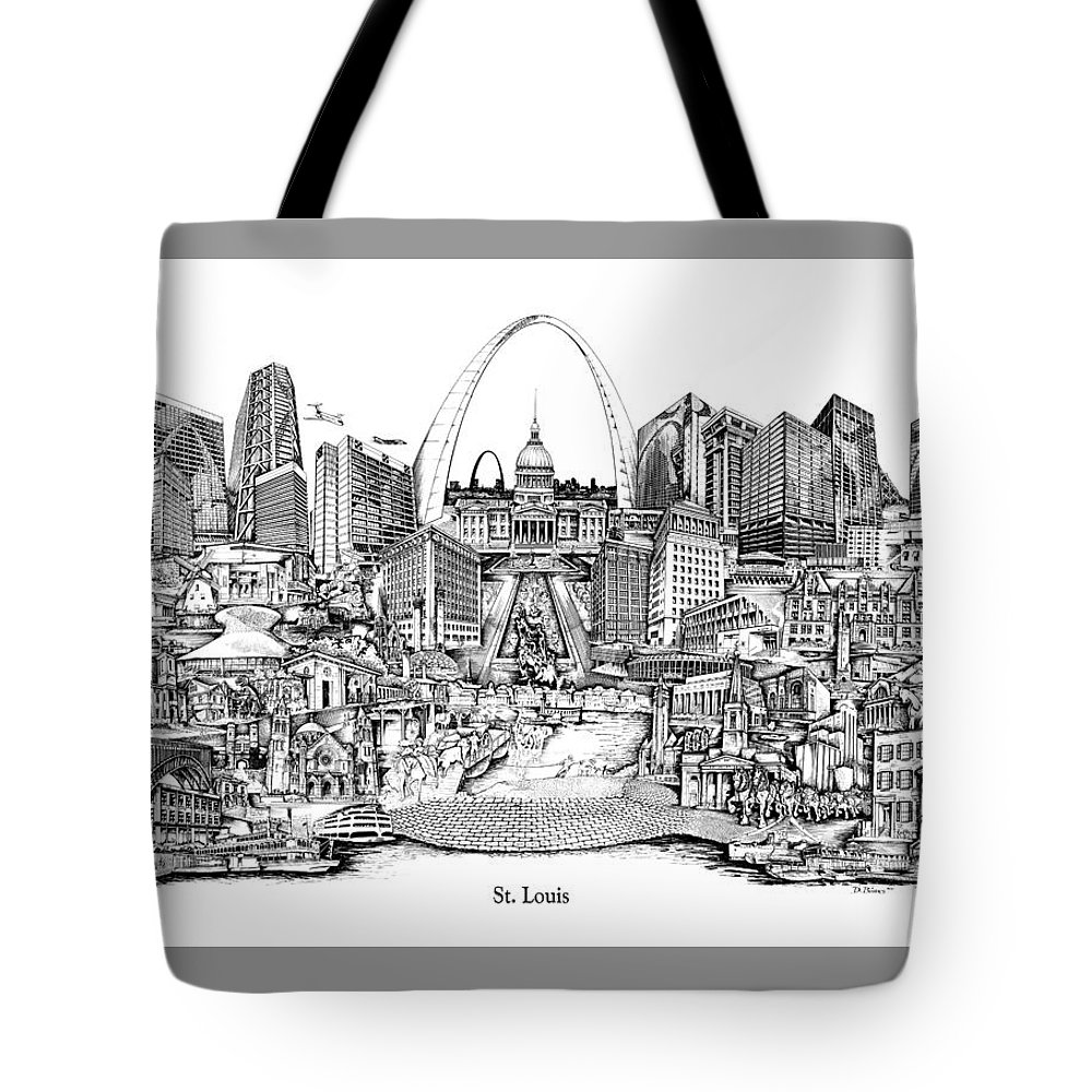 City Drawing Tote Bag featuring the drawing St. Louis 4 by Dennis Bivens