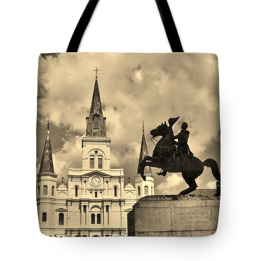 Old Church Tote Bag featuring the photograph St. Louis Cathedral And Statue by John Malone