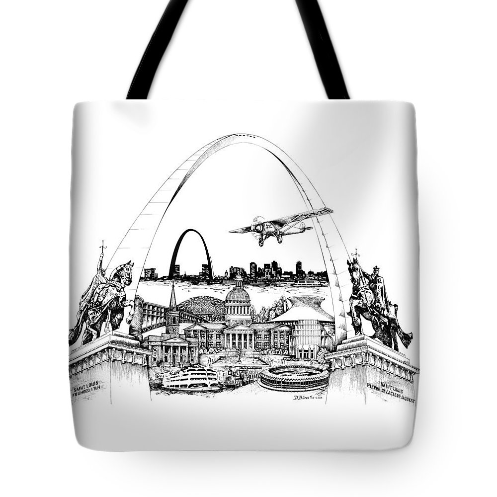 City Drawing Tote Bag featuring the drawing St. Louis Highlights Version 1 by Dennis Bivens