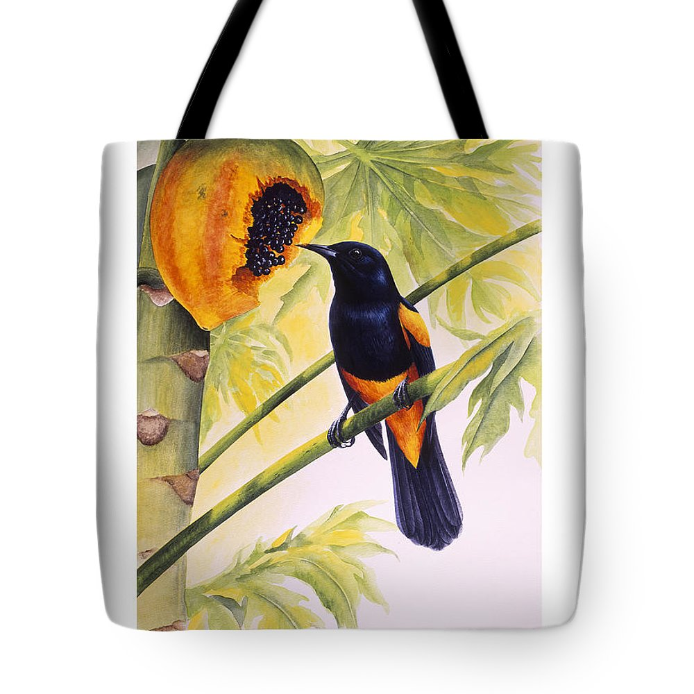 Chris Cox Tote Bag featuring the painting St. Lucia Oriole And Papaya by Christopher Cox