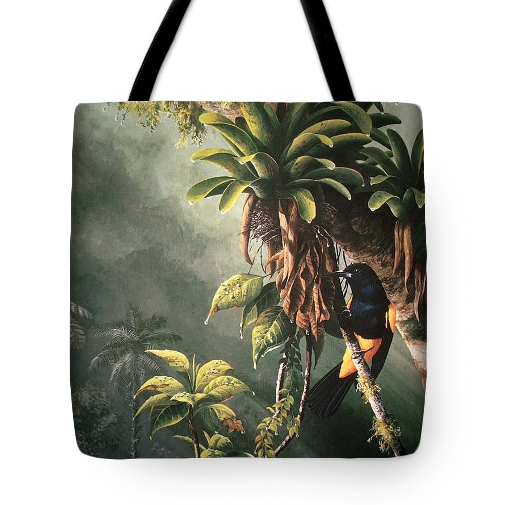 Chris Cox Tote Bag featuring the painting St. Lucia Oriole In Bromeliads by Christopher Cox