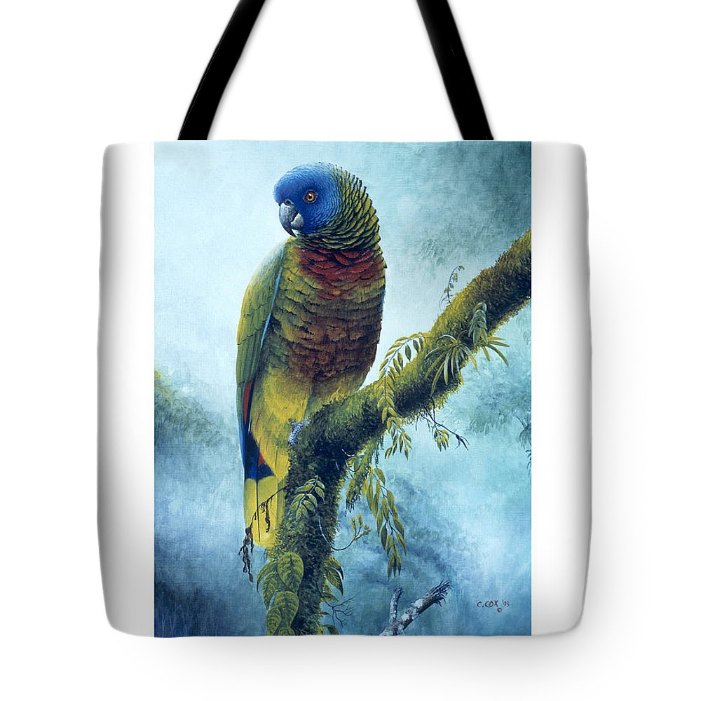 Chris Cox Tote Bag featuring the painting St. Lucia Parrot - Majestic by Christopher Cox