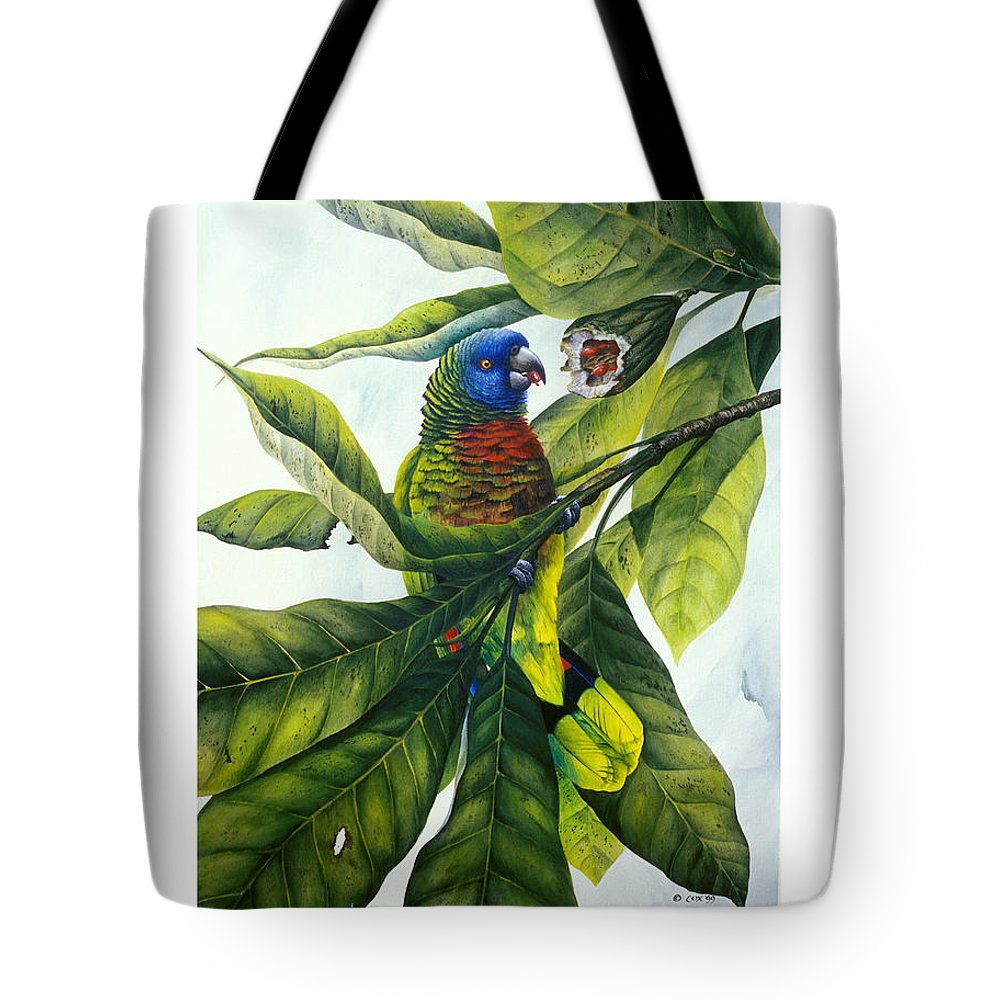 Chris Cox Tote Bag featuring the painting St. Lucia Parrot And Fruit by Christopher Cox