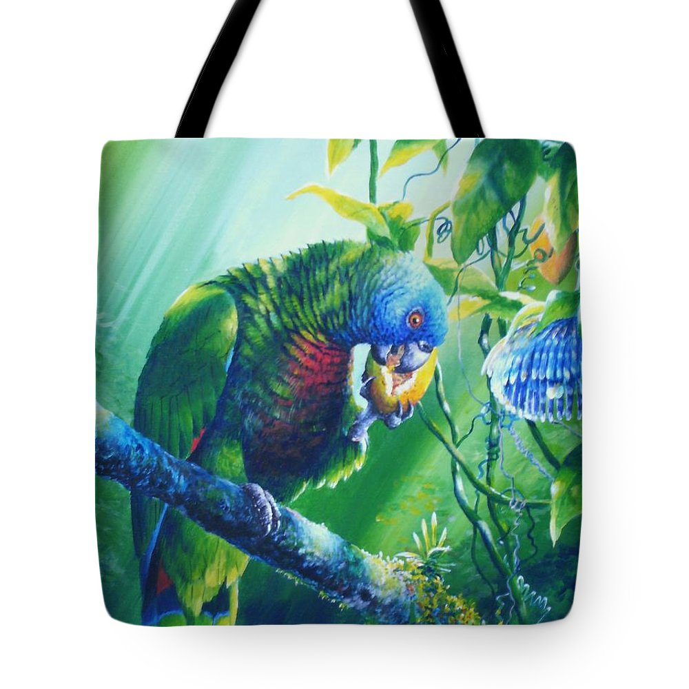 Chris Cox Tote Bag featuring the painting St. Lucia Parrot And Wild Passionfruit by Christopher Cox