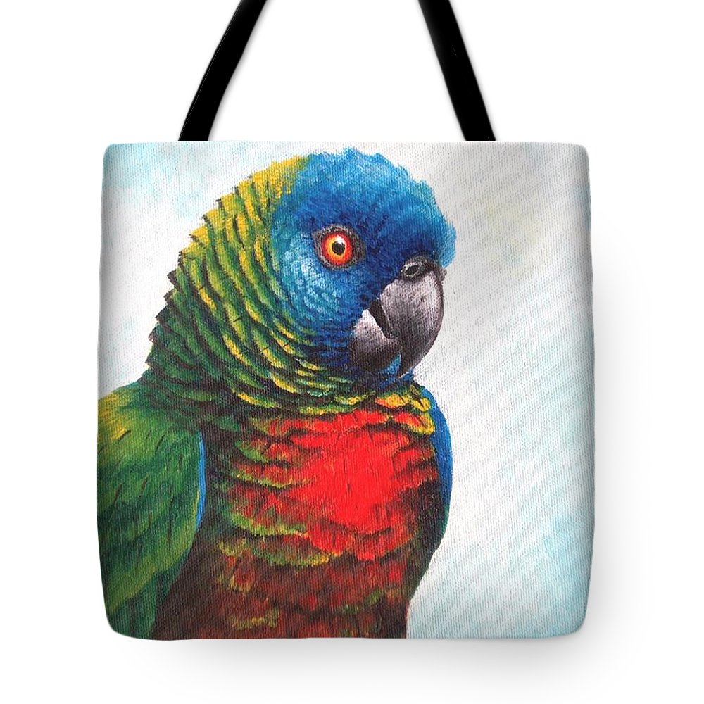 Chris Cox Tote Bag featuring the painting St. Lucia Parrot by Christopher Cox