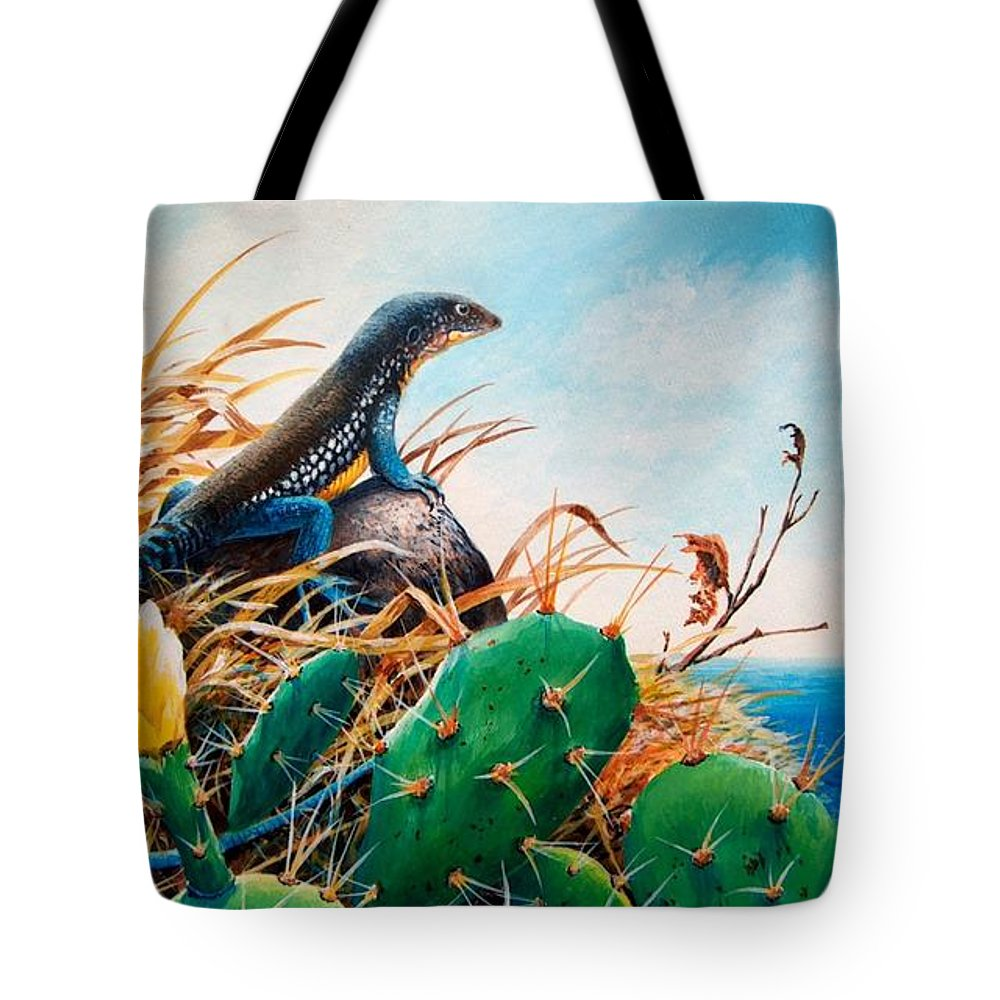 Chris Cox Tote Bag featuring the painting St. Lucia Whiptail by Christopher Cox