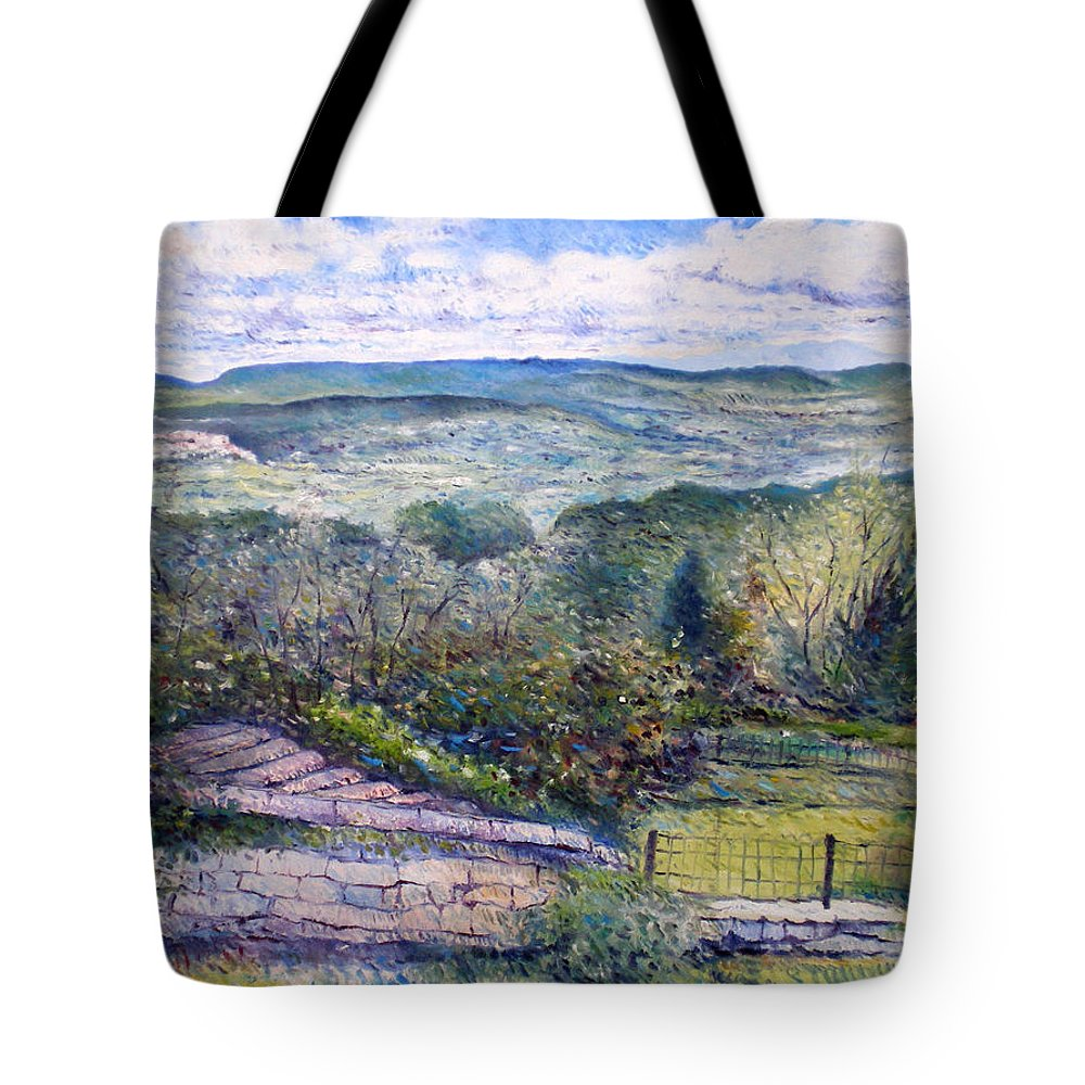 Luberon France Tote Bag featuring the painting St Martin De Castillon Luberon France 2004 by Enver Larney