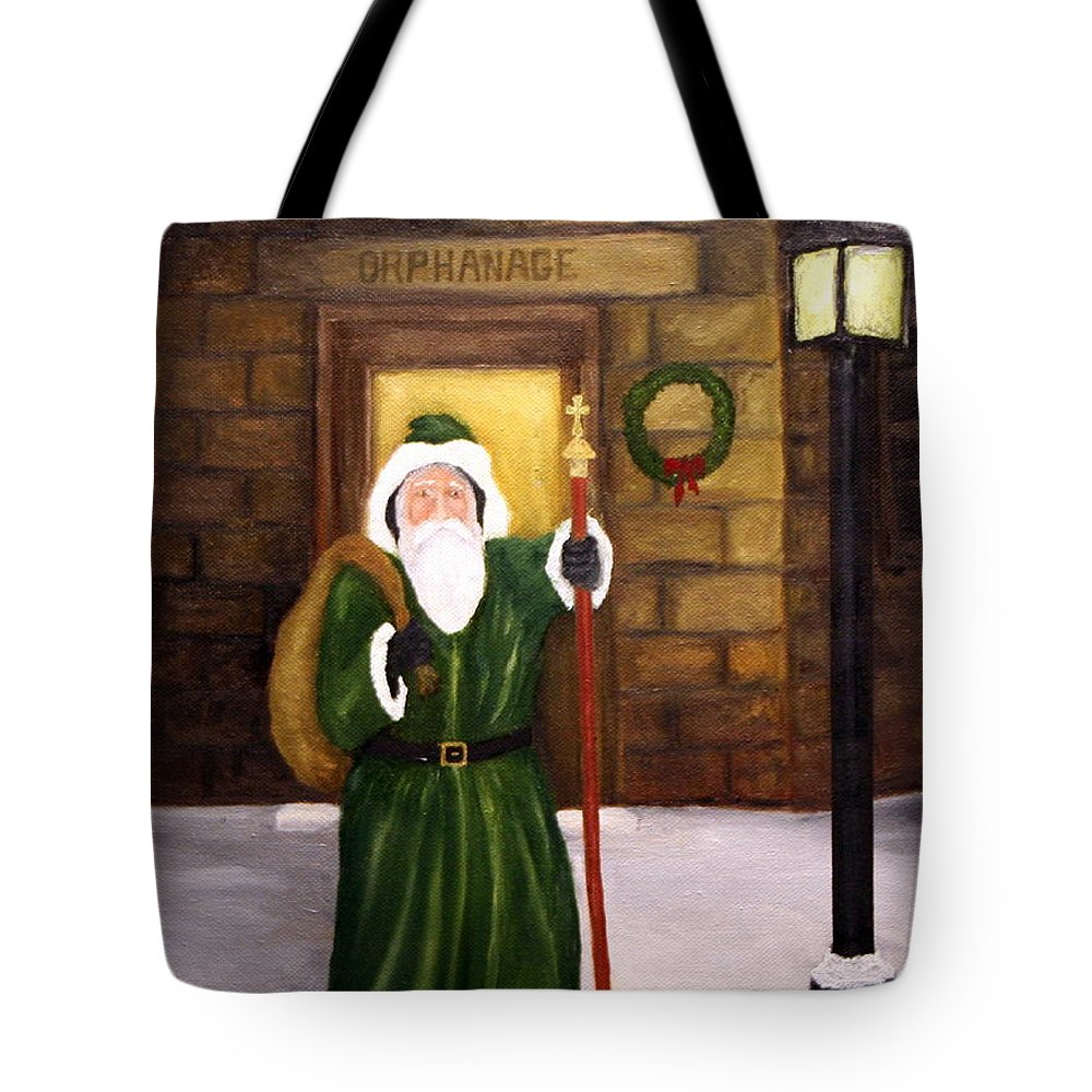 St. Nick Tote Bag featuring the painting St. Nicholas by Timothy Smith