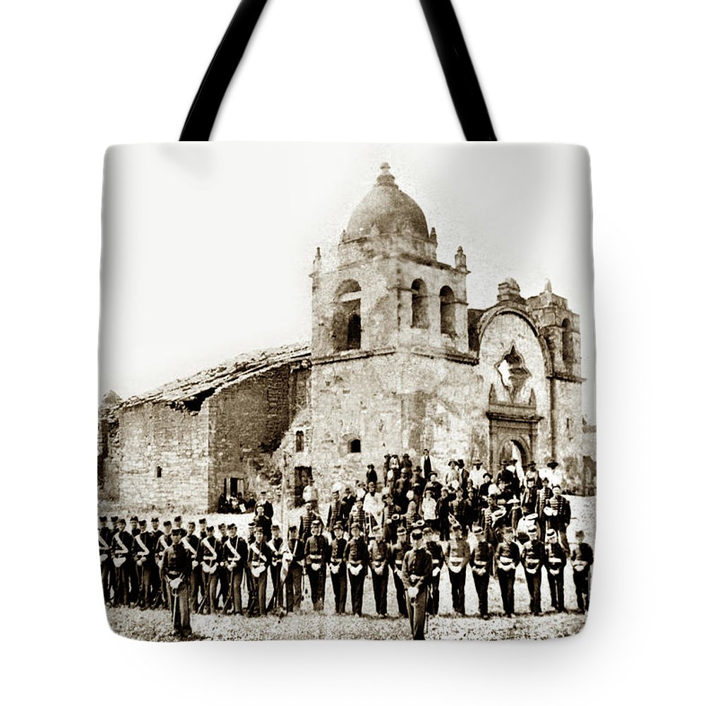 St. Patrick's Cadets On The Third Of July Tote Bag featuring the photograph St. Patrick's Cadets On The Third Of July, 1882 At The by California Views Mr Pat Hathaway Archives