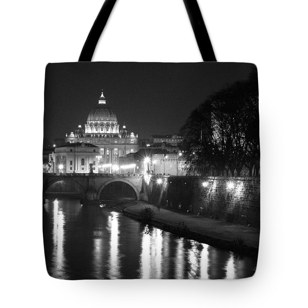 Italy Tote Bag featuring the photograph St. Peters At Night by Donna Corless