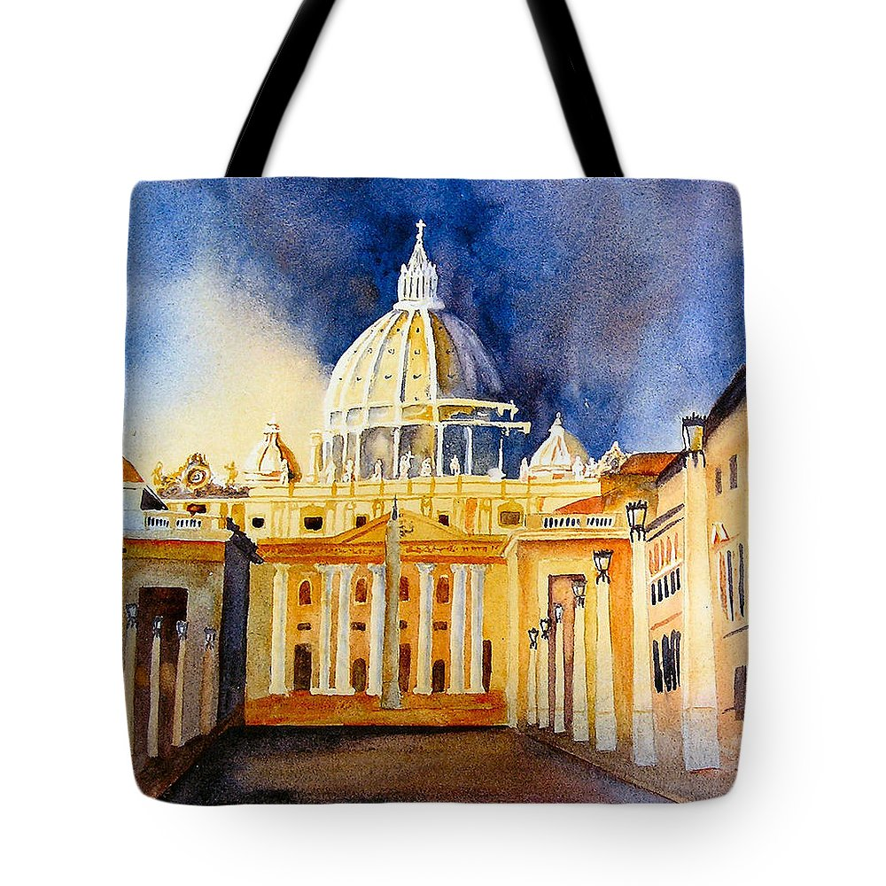 Vatican Tote Bag featuring the painting St. Peters Basilica by Karen Stark