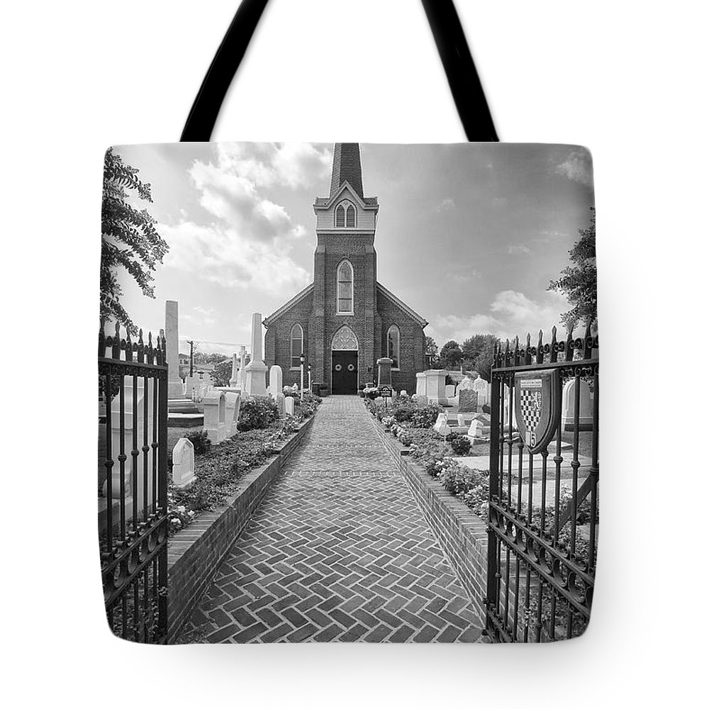 Church Tote Bag featuring the photograph Church And Gravemarkers by John Hoesly