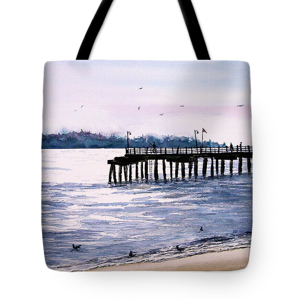 Fishing Tote Bag featuring the painting St. Simons Island Fishing Pier by Sam Sidders