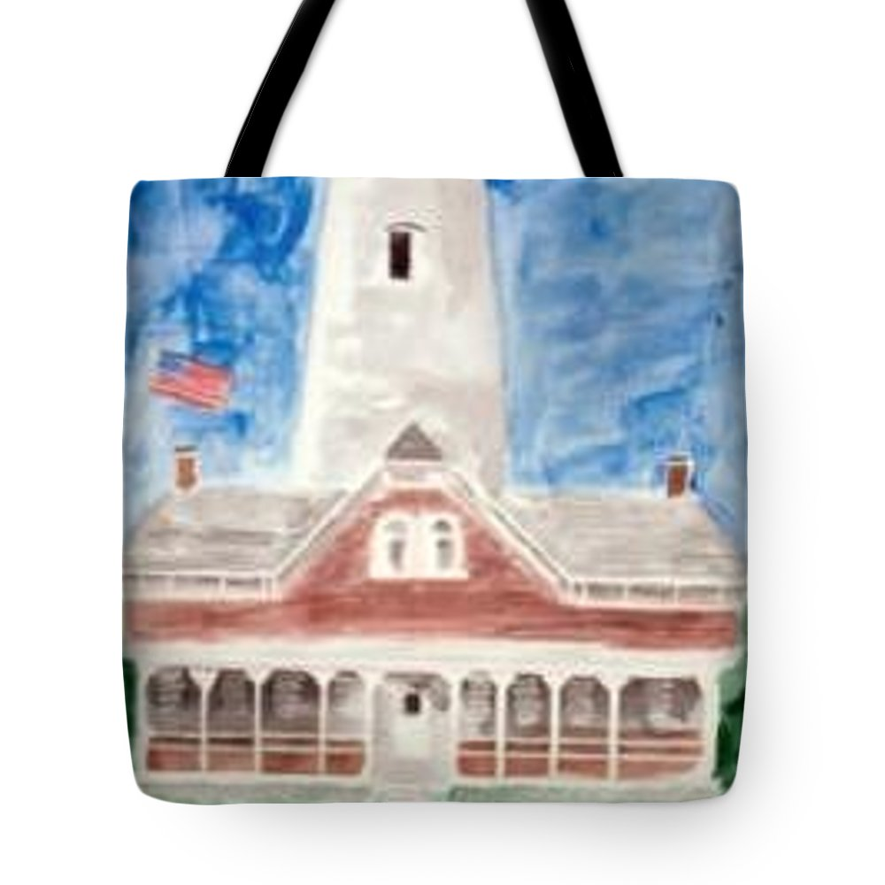 Watercolor Landscape Lighthouse Seascape Painting Tote Bag featuring the painting ST SIMONS LIGHTHOUSE nautical painting print by Derek Mccrea