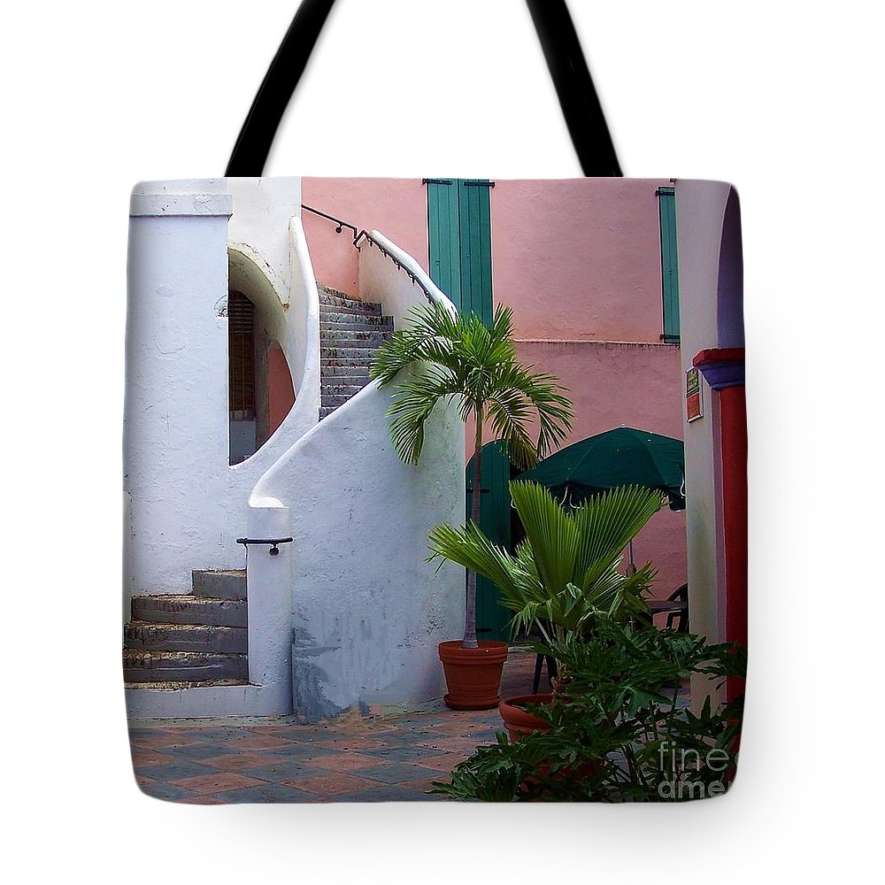 Architecture Tote Bag featuring the photograph St. Thomas Courtyard by Debbi Granruth