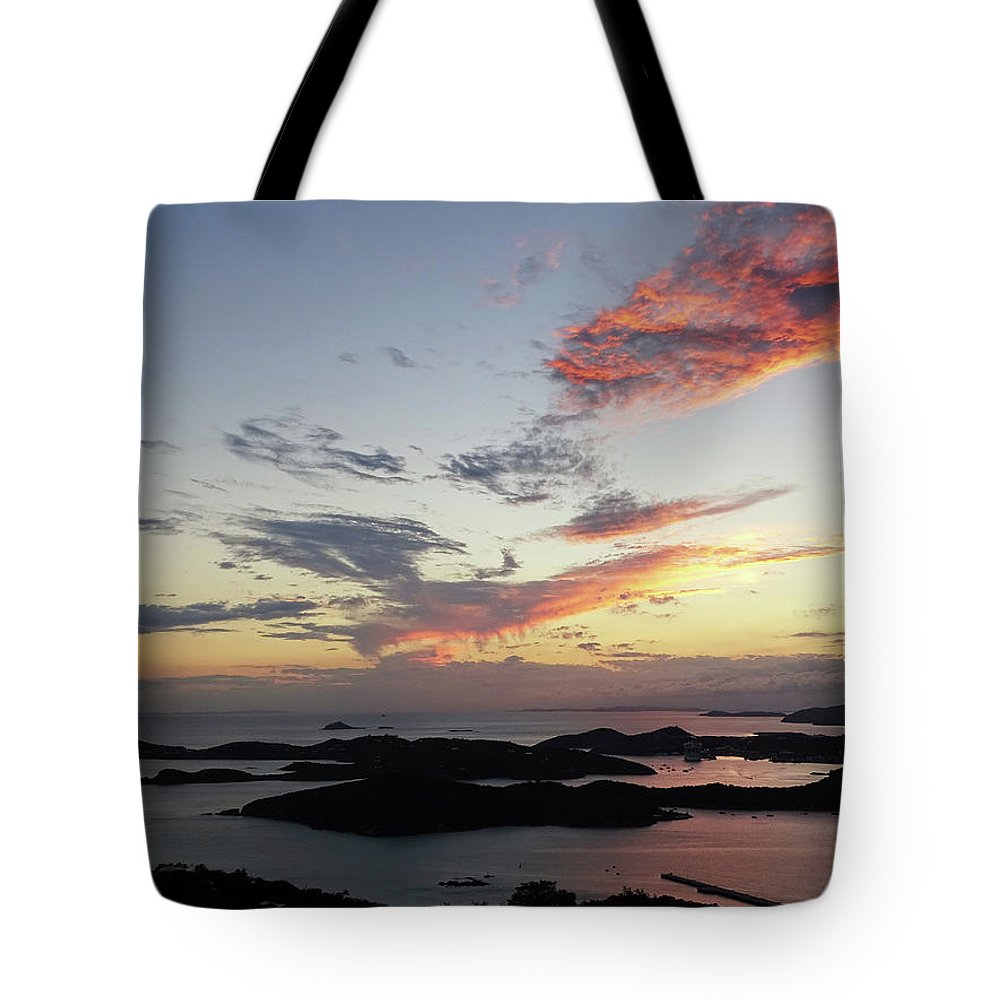 Sunset Tote Bag featuring the photograph St. Thomas Sunset by Deborah England