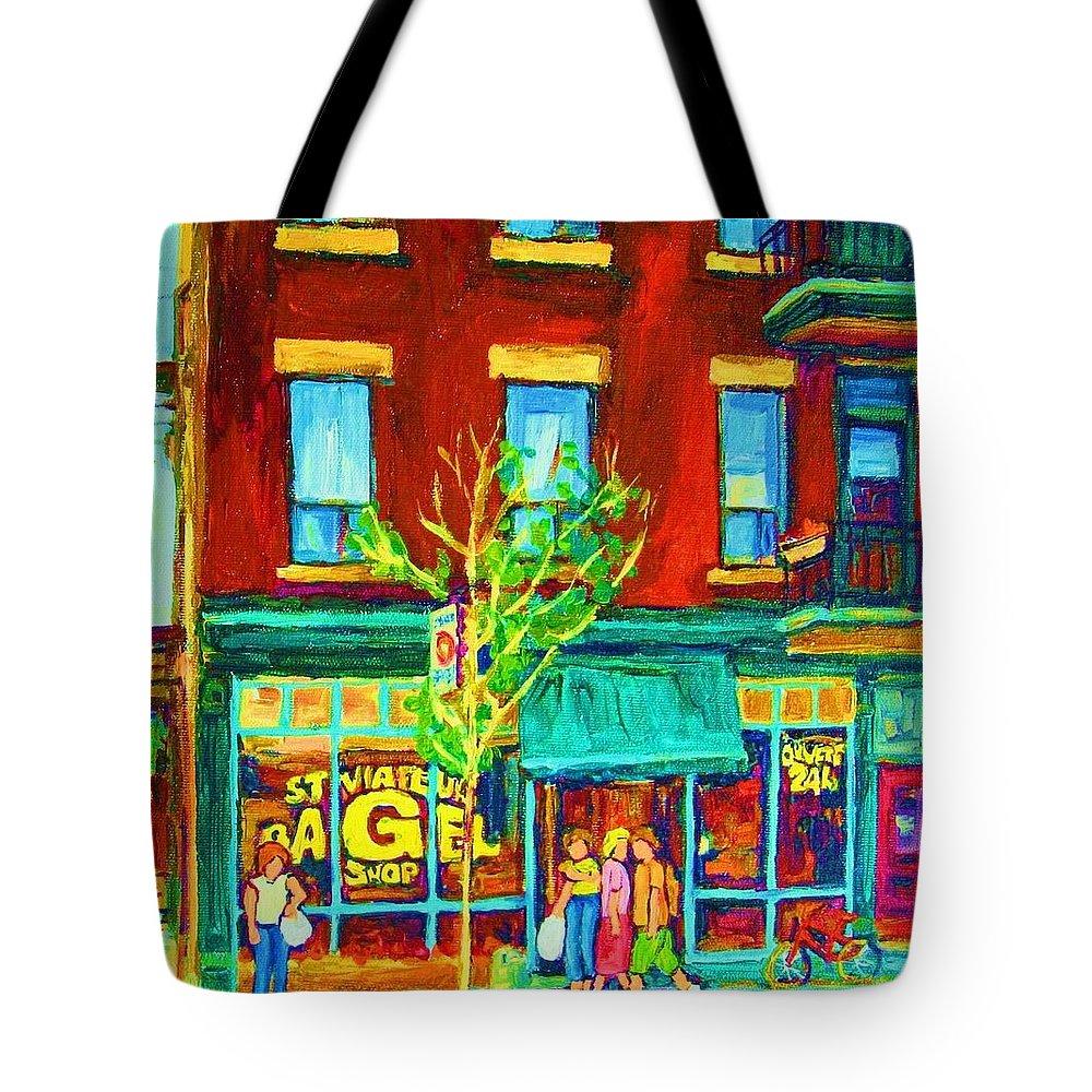 St. Viateur Bagel Shop Tote Bag featuring the painting St Viateur Bagel Shop by Carole Spandau