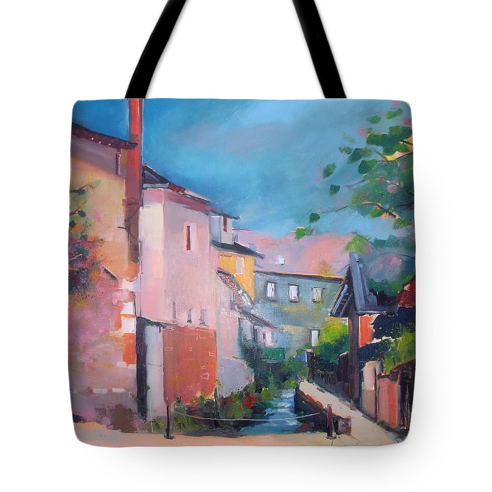 Haute Vienne - France La Couchou Tote Bag featuring the painting St Yrieux La Perche by Kim PARDON